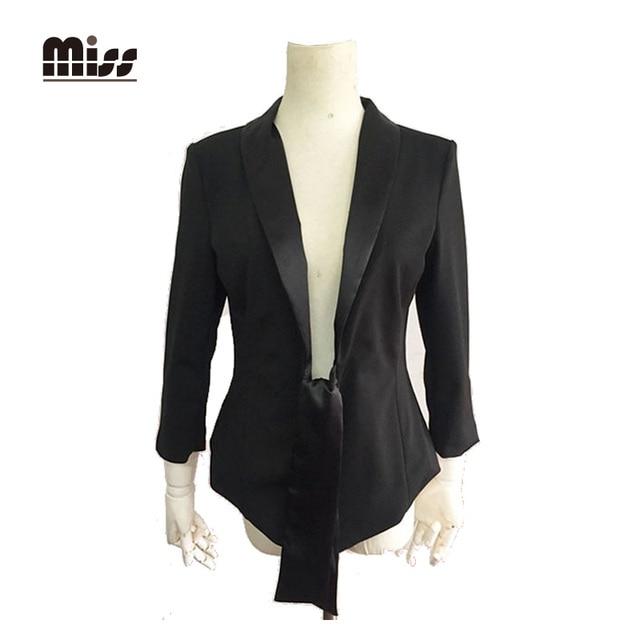 MISS 2016 Spring Black Blazer Women Jackets Office Slim Solid Long Sleeve Work Feminino Formal Elegant Ladies Blazers T5B99