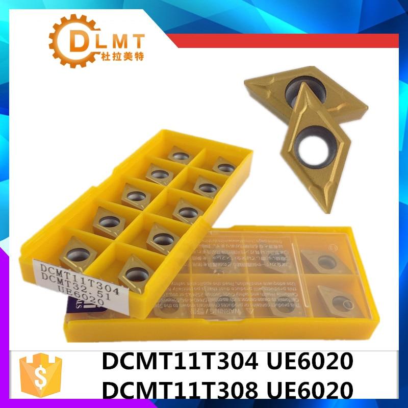 20 عدد DCMT11T304 UE6020 DCMT11T308 UE6020 ابزارهای داخلی چرخش کاربید درج کاربید ابزار برش ابزار CNC ابزار تراش ابزار برش تراش