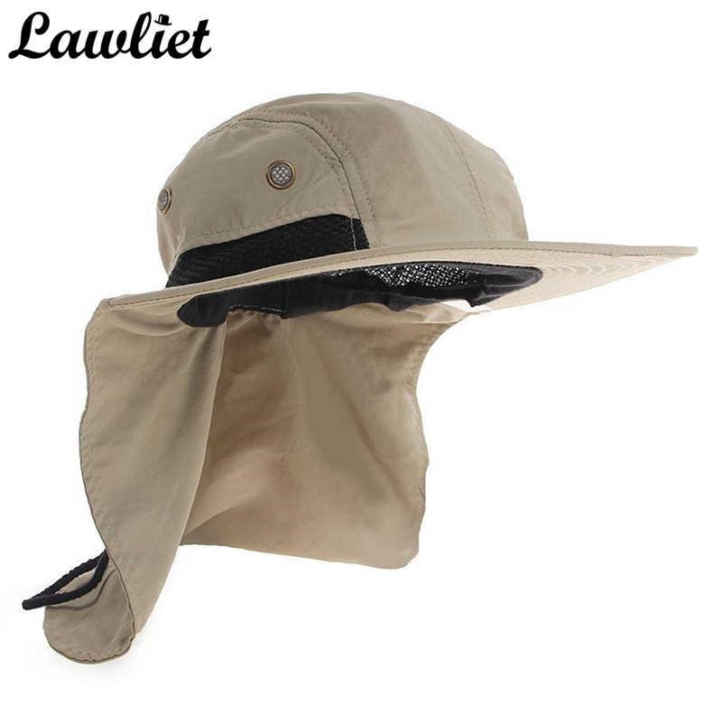 f637a1b87d4e8 New Brand Chapeau Sun Hat for Man Sunshade Fishing Bucket Hat Summer Hat  Climb Mountain Jungle