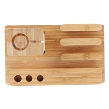 Universal Desktop Mobile Phone Holder Stand Bracket Real Bamboo wood Charging Stand for Apple Watch Pad for iPhone pen