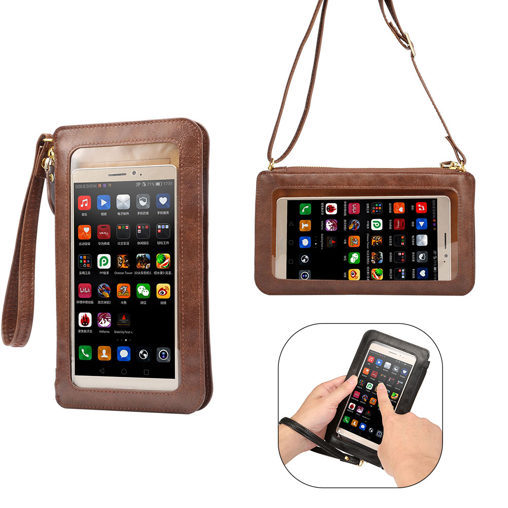 KSQ Fashion Universal Touch PU Leather Phone Bag For Less Than 6.3 Mobile Phone Shoulder Bag Pouch Case For iPhone 6s 7 8