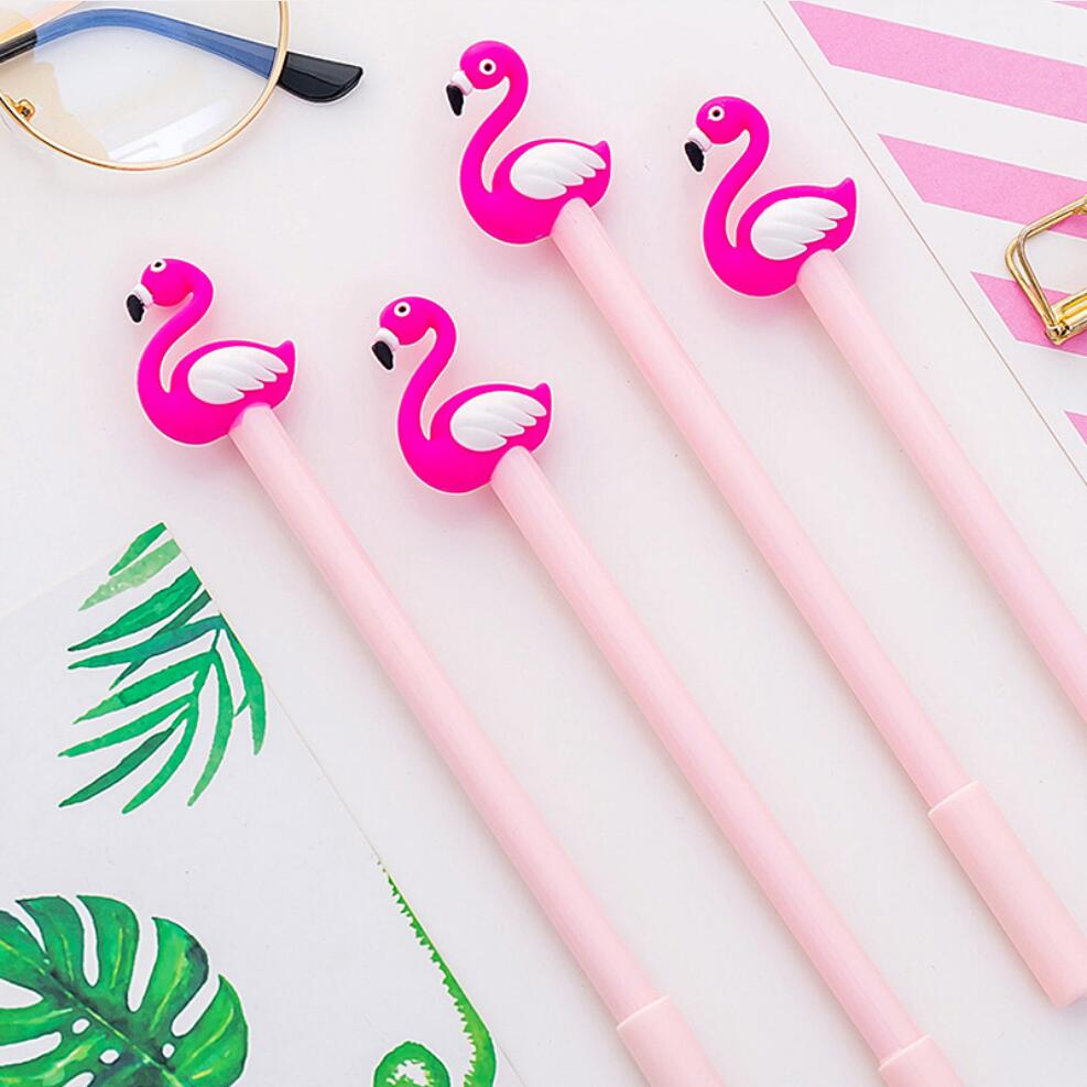 2 pcs/lot 0.5 mm Red Swan Flamingo Gel Pen Signature Pen Escolar Papelaria School Office Supply Promotional Gift