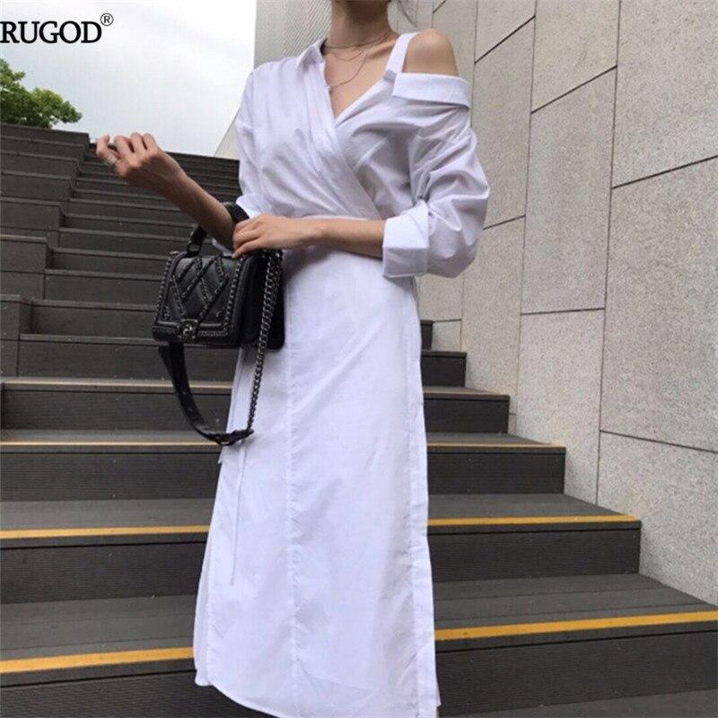 3c3d9b2fa9ff48 Kopen Goedkoop Rugod 2018 Koreaanse Stijl Witte Jurk Femme Slanke Tuniek  Een schouder Off Shirt Jurk Vrouwen Causale Sexy Katoen Maxi Jurk Vestidos  Prijs.