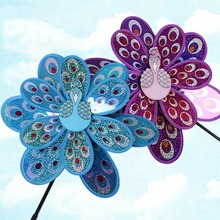Double Layer Peacock Laser Sequins Windmill Colorful Wind Spinner Kids Toy Outdoor