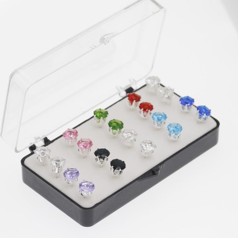 20 Stück Geschenk Box Verpackung Runde Kristall Silber Stud Ohrring Für Frauen Klassische Ohrringe Schmuck Großhandel Geschenk Tropfen Verschiffen Elegant Und Anmutig
