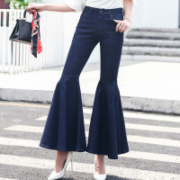 Women Jeans Wide Leg Pants Flounced Cuffs 2017 Autumn Pockets Washed Blue Denim Jean High Waist