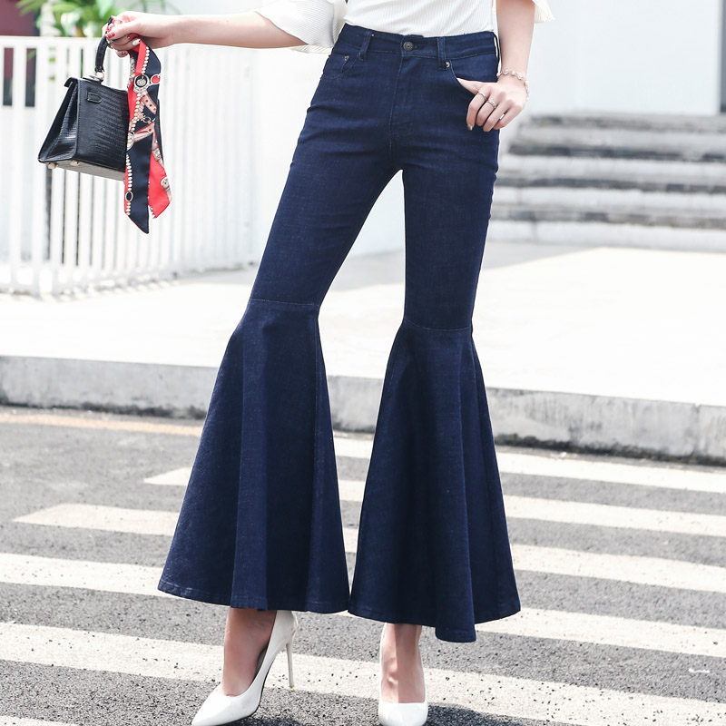 Women Jeans Wide Leg Pants Flounced Cuffs 2017 Autumn Pockets Washed Blue Denim Jean High Waist Flare Pants Vintage Skinny Jeans lanbaosi jeans cropped wide leg jeans for women high waist palazzo flare blue denim pants casual ladies mom jean wash trousers