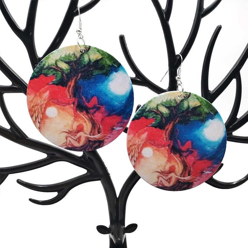 YD & YDBZ 2019 новые женские сережки с подвесками пара деревянные серьги фестиваль подарок панк стиль ювелирные изделия с висячими элементами подарок для девочек готические серьги