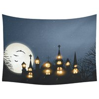Halloween Home Decor Tapestries Wall Art Full Moon Bat Haunted Castle Tapestry Wall Hanging Art Sets