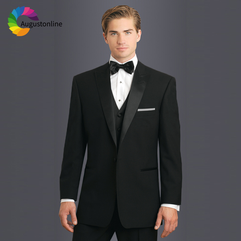 Black Men Suits For Wedding Peaked Lapel Bridegroom Groom Regular Fit Formal Blazer Tuxedo Terno Masculino Best Man Prom 3Pieces