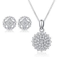 925 Prata Esterlina Auréola Simulado Diamantes Brinco Stud Colar Pingente Fine Jewelry Set Presente para As Mulheres Do Vintage