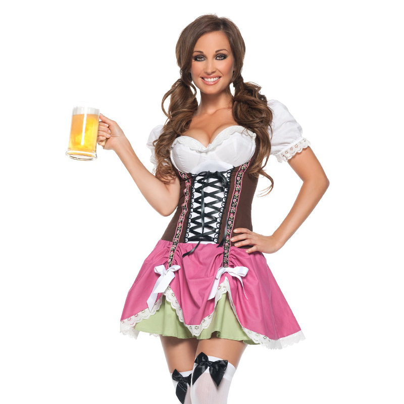 Vocole Women Sexy Oktoberfest Beer Girl Costume Bavaria Party Maid Uniform