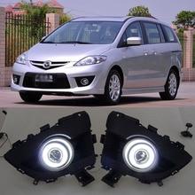 Инновационный CCFL Ангел глаз дневной ходовой светильник+ галогенный противотуманный светильник объектив проектора и противотуманная фара чехол для Mazda 5 2008-2010