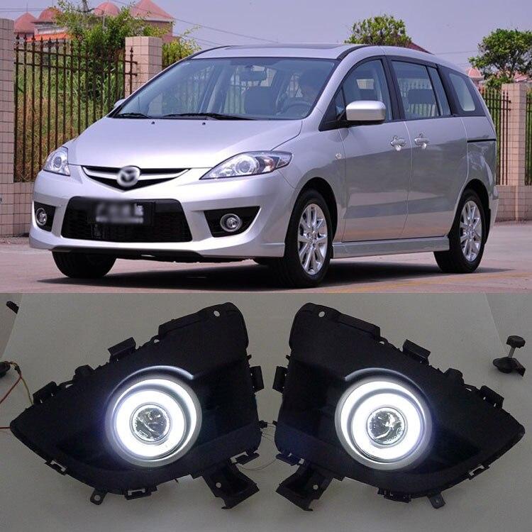 Новый инновационный CCFL Ангел глаз дневного света + Галогенные Противотуманные фары объектив проектора и туман лампы для Mazda 5 2008 2010