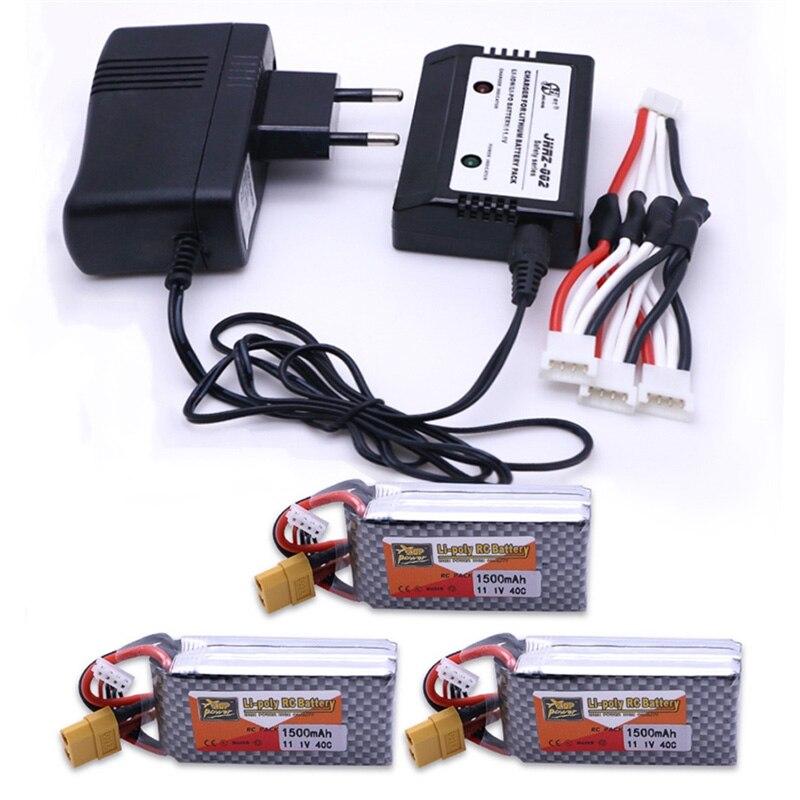 3 pièces 11.1 V 1500 Mah 3 S 40C XT60 Plug Lipo batterie avec 3in1 EU Lipo chargeur ensemble et câble de charge pour RC hélicoptère voiture bateau jouet