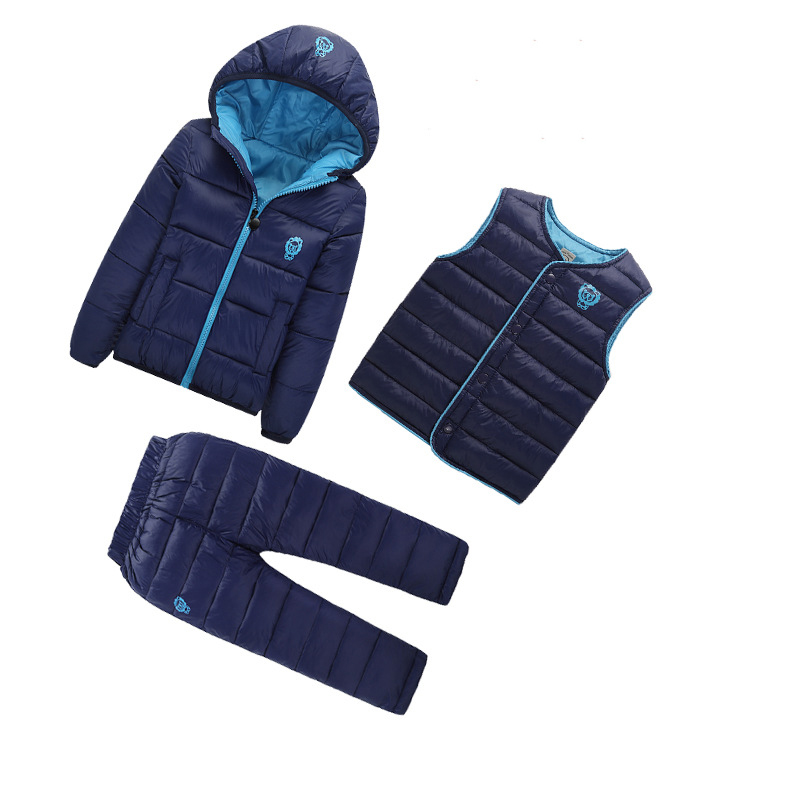 ФОТО 3 Pcs/ Lot Boys Clothes Sets 2017 New Winter Girls Down Jacket For Girl Boy Winter Coat Jacket Infant Warm Outwear Suits 1733