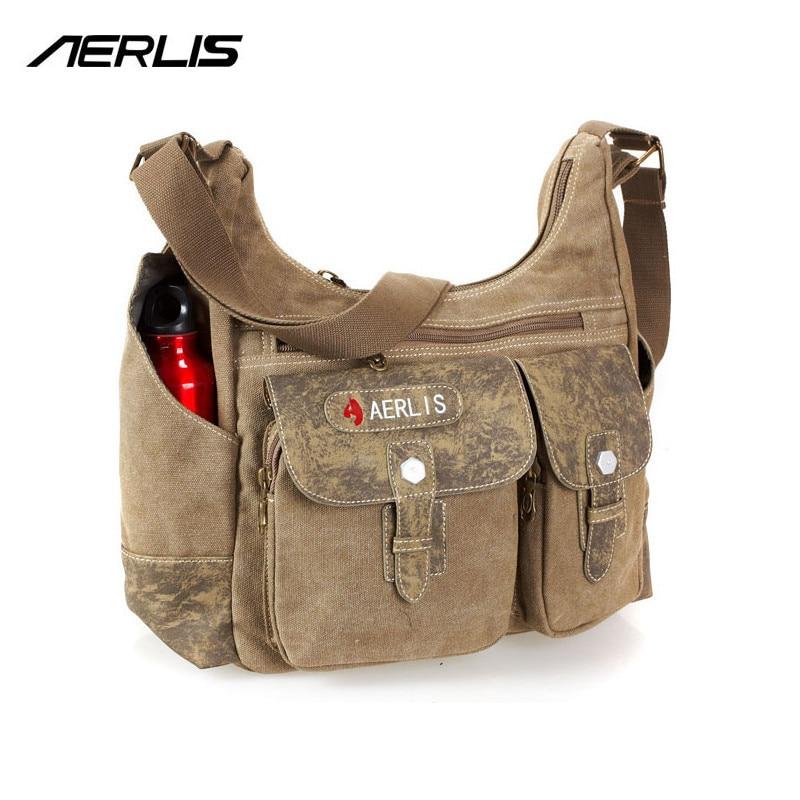 ФОТО AERLIS Mens Canvas PU Shoulder Handbags Briefcase Messenger Bag For Books IPad Casual Crossbody Males Business Bags 4267