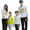 family clothings 2016 spring family matching clothes tiger head printed family tracksuit top t shirt +pants family clothes sets