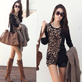 Korean style T-shirt 2016 Cotton Top Streetwear Slim Fit Long Sleeves T-Shirt Women Leopard Printing Knitting Tops for Women