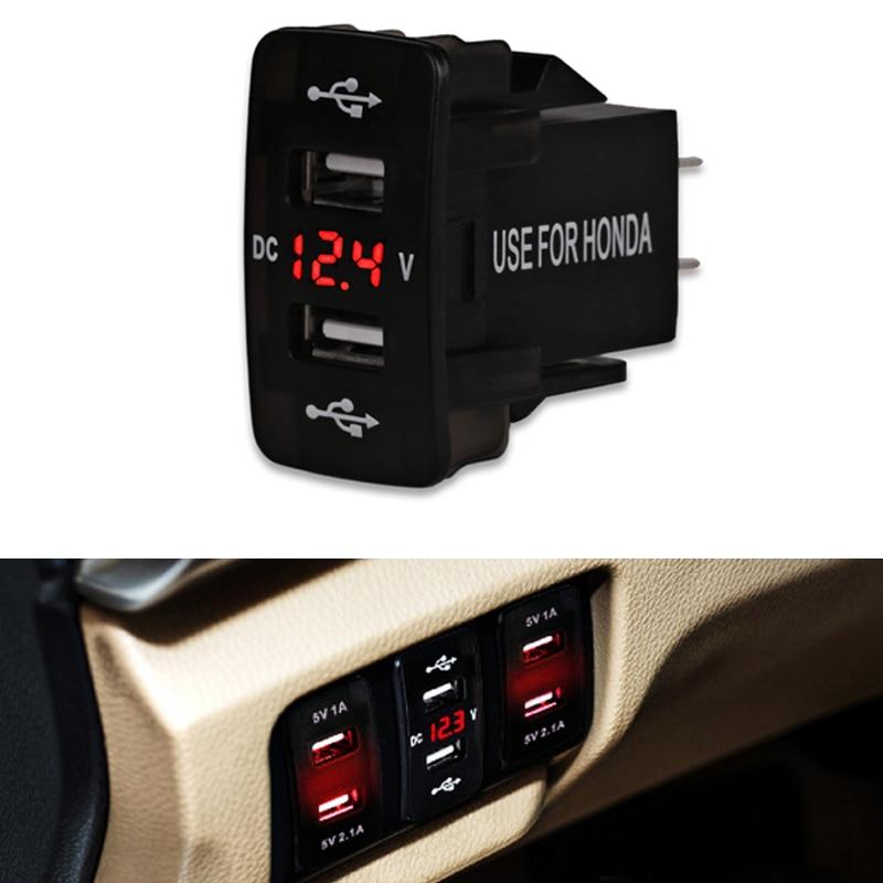 5v 2.1A 12v Car USB Cigarette Lighter Socket Charging Dual USB Car Charger Voltmeter Socket For Honda For All Mobile Phone