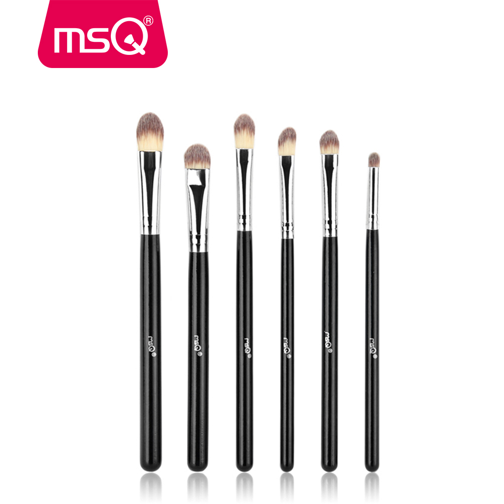 MSQ 6st Eyeshadow Makeup Børster Sæt Professionel Øjenbørste Øjenskygge Blanding Make Up Børste Soft Synthetic Hair