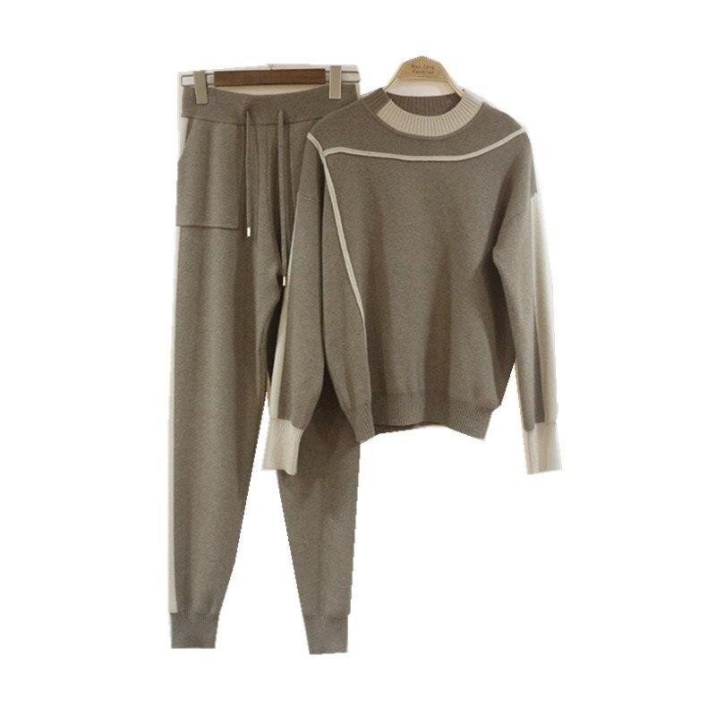 Occasionnel beige Et Tricoté Européenne Américaine Pantalon Costume Kaki Deux Hiver gris En Pieds Vison Boutique Automne Nouveau Mode De Pièces 2018 wBqz7SCRS