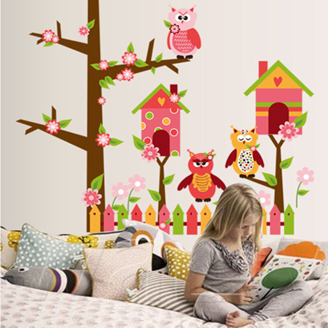 Große Größe Eulen Auf Dem Baum Wandaufkleber Kinderzimmer Dekoration Baby  Für Kinderzimmer Kunst Und Handwerk Aufkleber