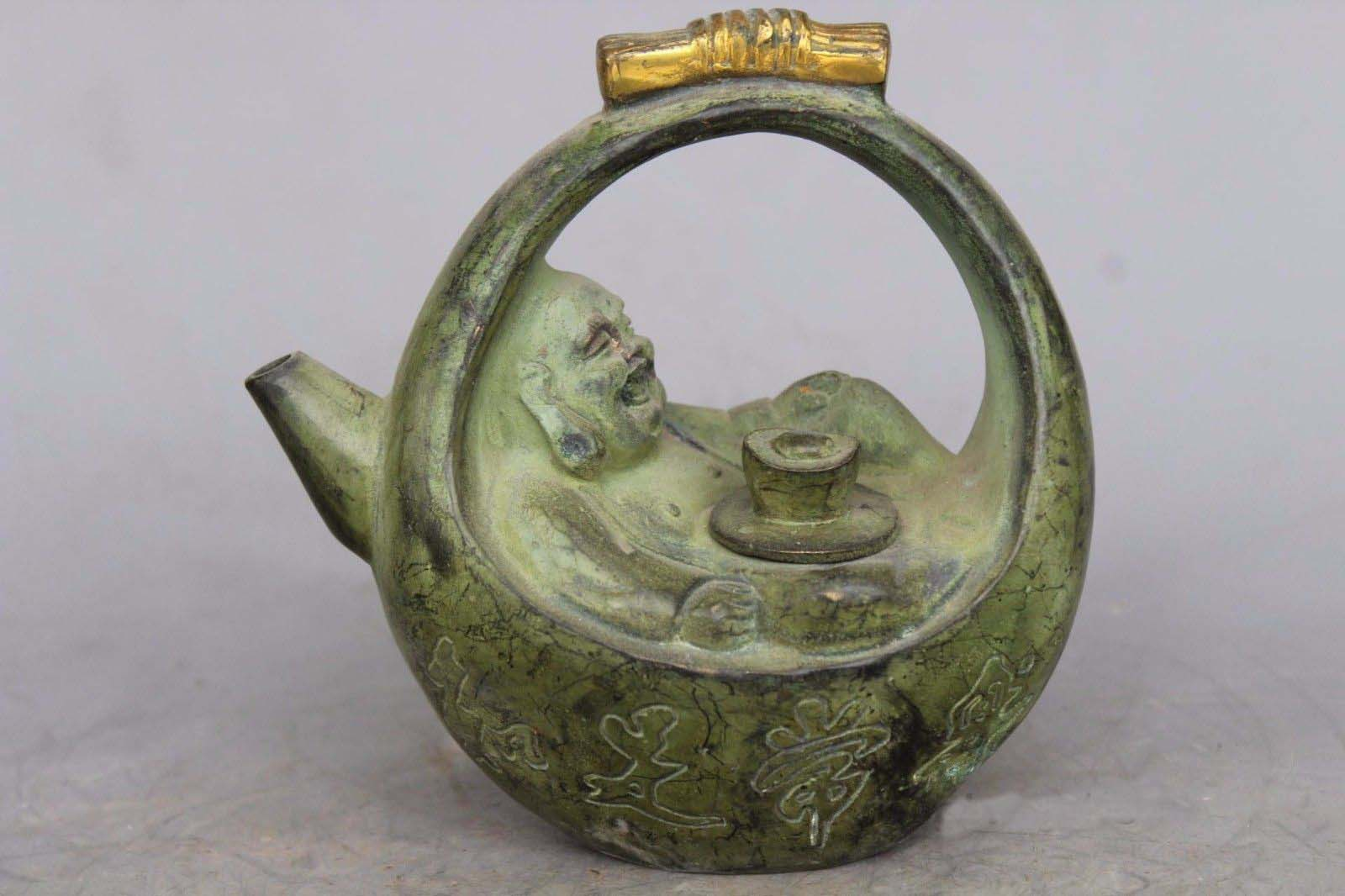 6Old Chinese buddhism Bronze gilt wealth Maitreya Buddha Wine TeaPot Flagon6Old Chinese buddhism Bronze gilt wealth Maitreya Buddha Wine TeaPot Flagon