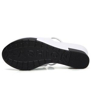 Image 3 - 夏の女性のプラットフォームスリッパスライドサンダルの靴の女性にスリップオープンフリップフロップ白本革ウェッジビーチサンダル