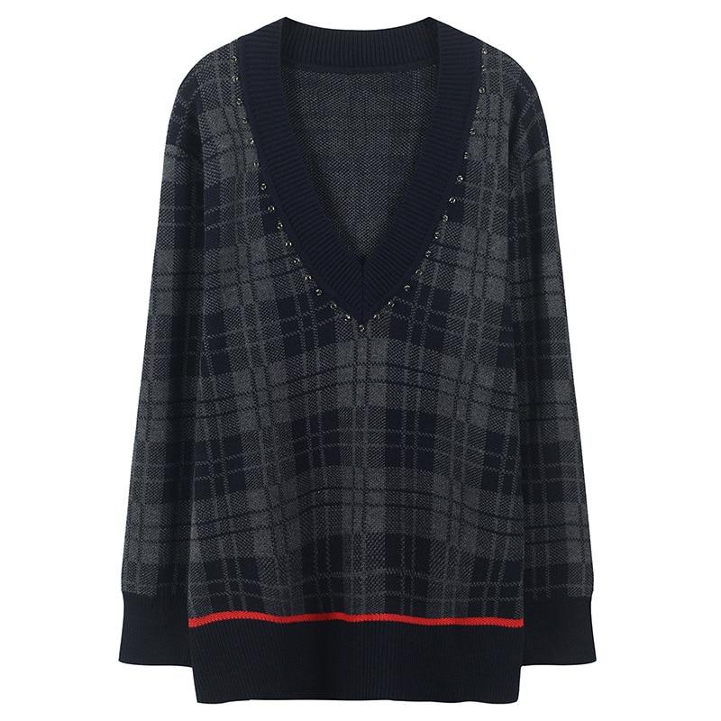 Vintage Rhinestones Diamond Beading Sweater Autumn Plaid Jumper Winter Pullover Women Sweater Striped Knit Tops Runway