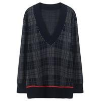 Vintage Rhinestones Diamond Beading Sweater Autumn Plaid Jumper Winter Pullover Women Sweater Striped Knit Tops Runway Design