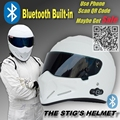 TopGear The STIG White Helmet with Bluetooth Built-in / Helmet Capacete Casco De with Black Visor with Phone Call Intercom Motor