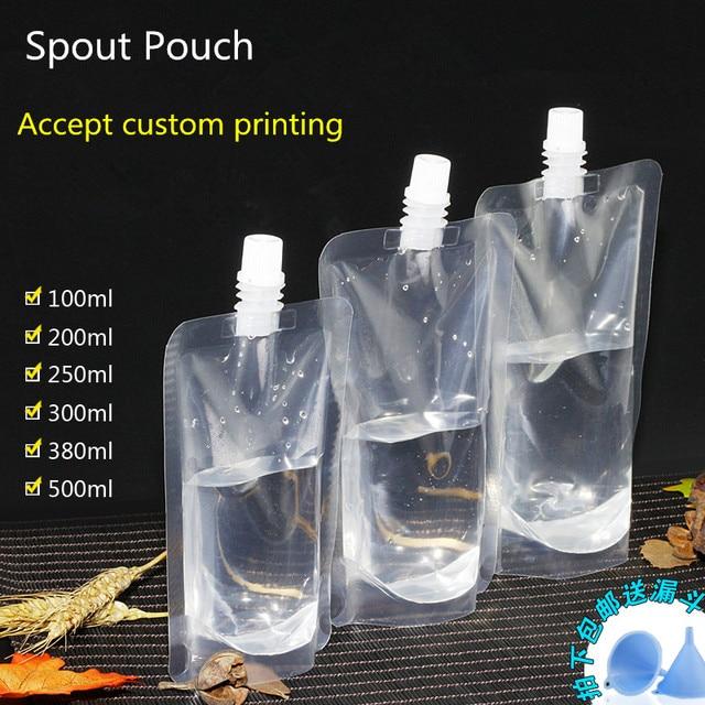 200pcs Self Suction Nozzle Bag Clear Spout Drink Liquid Transpa Sealed Squeeze Pouch
