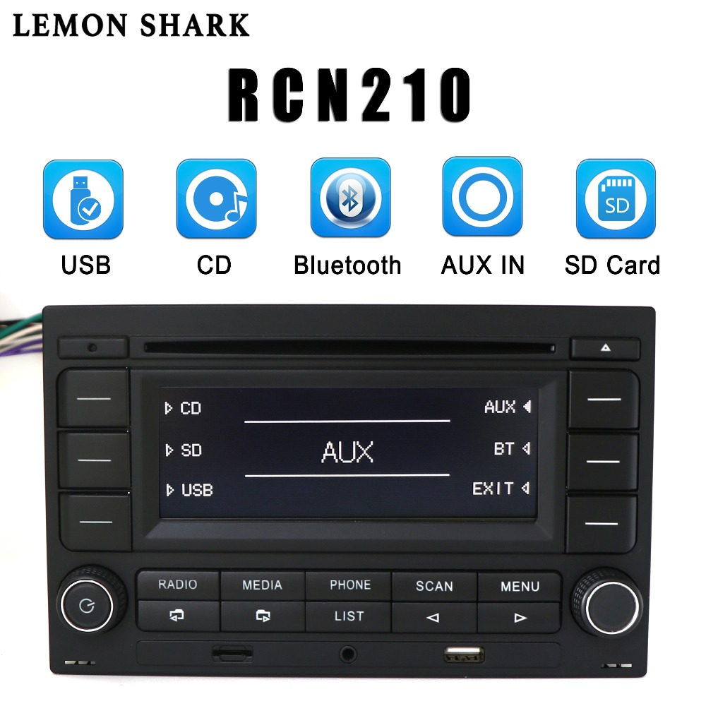 LEMON SHARK Car Radio RCN210 CD Player <font><b>USB</b></font> MP3 AUX Bluetooth 9N 31G 035 185 For <font><b>VW</b></font> <font><b>Golf</b></font> Jetta MK4 Passat B5 Polo RCN 210 image