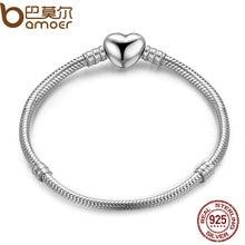 Bamoer аутентичные 100% стерлингового серебра 925 цепи змейки моменты сердце браслет и браслет роскошные серебряные ювелирные изделия pas917