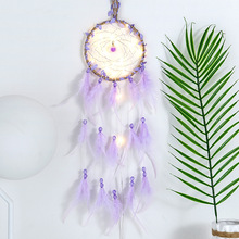 The new Dream catcher with lamp creative single ring dream weaving hanging decoration birthday girls gifts