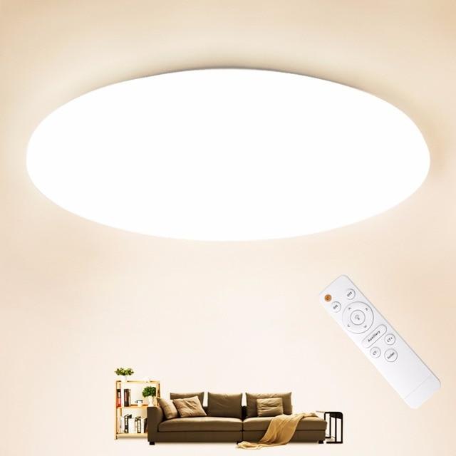 LED תקרת אור תאורה קבועה מודרני מנורת סלון חדר שינה מטבח חדר אמבטיה משטח הר שלט רחוק