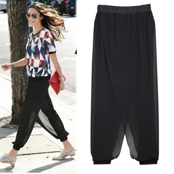Queechalle loose chiffon   capris   2018 Summer elastic waist women   pants   L - 5XL plus size casual high waisted female trousers