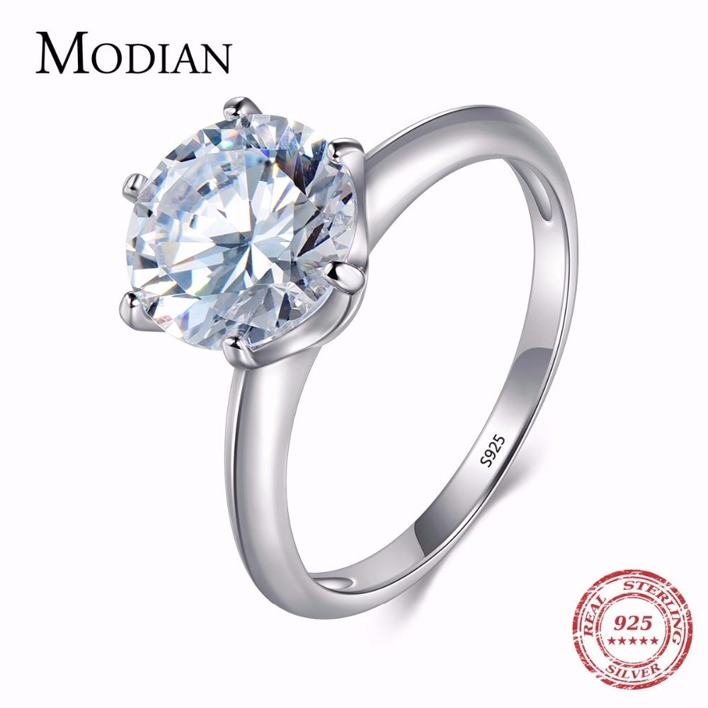 Cubic Zirconia 3Ct Genuine 925 Silver Classic Wedding Engagement Women Ring