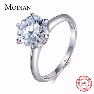 3Ct Modian 2019 925 Sterling Silver Ring Clear Six claw Cubic Zirconia Fashion Wedding Engagement Classic Jewelry For Women(China)