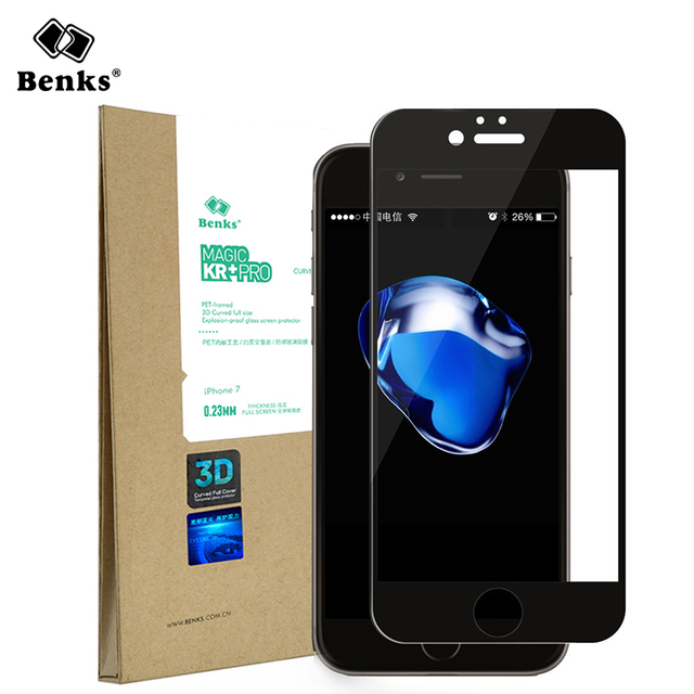 Benks 3D Anti-blue Ray Full Cover Tempered Film for iPhone 7plus Phone 0.23mm Toughened HD Glass Screen Protector + Cleaning Kit