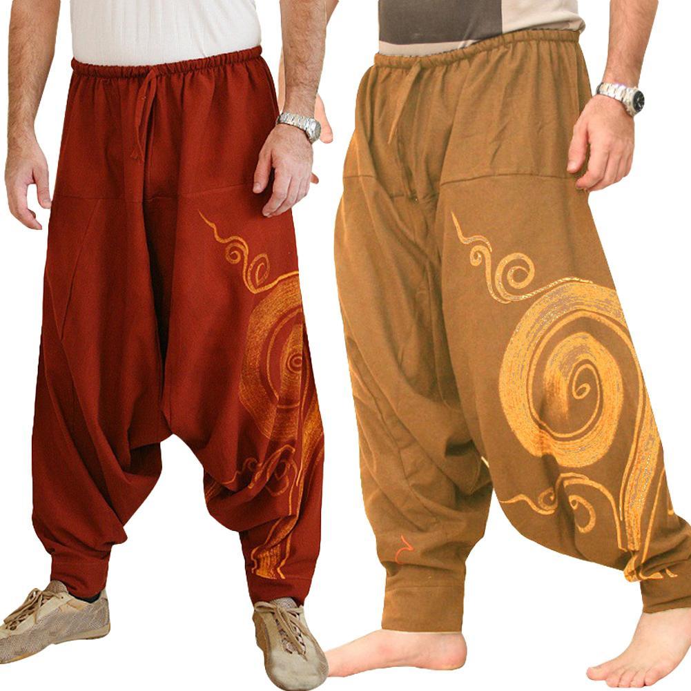 2019 New Hip Hop Aladdin Baggy Cotton Linen Harem Pants Men Plus Size Wide Leg Trousers New Casual Pants Cross-pants