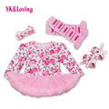Cute Baby Sets Floral Print Little Girl Vestidos Newborn Ruffle Tutu Dress Lolita Style Princess Dresses Clothes Set 4pcs