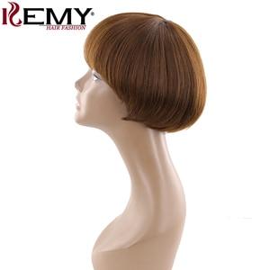 Image 4 - Medium Brown 4# Short Human Hair Wigs With Bangs KEMY HAIR Brazilian Straight Bob Wigs For Black Women Non Remy Fashion Hair