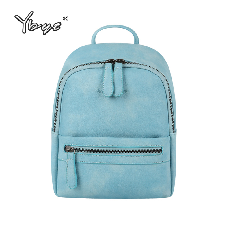 YBYT brand 2018 new vintage casual PU leather simple women rucksacks girls student school bookbags female small travel backpacks