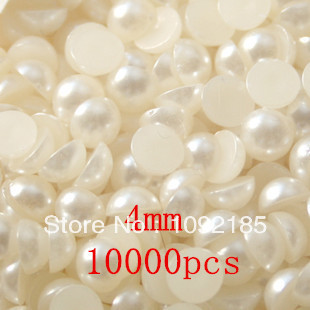 4MM 10000Piece/Bags ABS imitation Beige pearl beads half round flatback pearls Nail flat back imitation pearl mixed size 400pcs pack beige imitation pearls half round flatback resin scrapbook beads clothing decorate nail art abs pearl