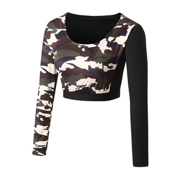 Womens Camouflage Print Workout Exercise Short Crop Tops For Female Active Long Sleeve Fitness Yoga Shirts Cheerleader Clothing