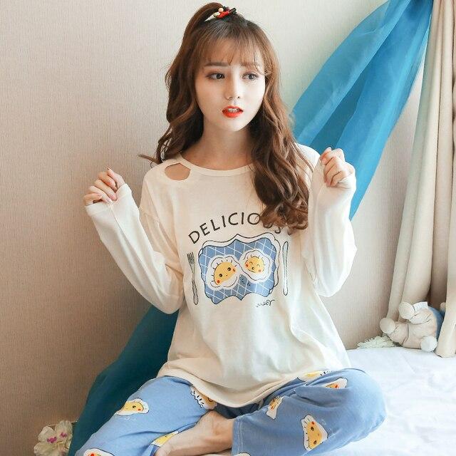 59ef4f02d Primavera Mulheres Conjunto De Pijama de Manga Longa Bonito Kawaii Feminino  Inverno Sleepwear Macio Ovo Impressão