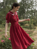 2019 new fashion women's dresses French court vintage red chiffon dress temperament long summer