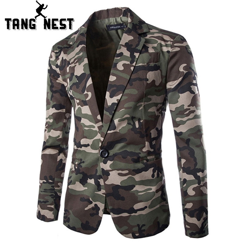 TANGNEST 2019 Camouflage Color New Design Spring Autumn Men Casual Blazer Hot Sale Fashion One Button Asian Size Suits MWX309